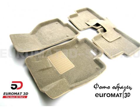 Текстильные 3D коврики Euromat3D Business в салон для Cadillac SRX (2010-2015) № EMC3D-001304T Бежевые
