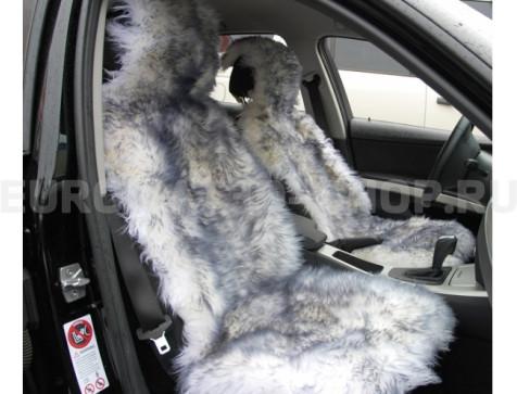 Меховая накидка из натуральной овчины Euromat|Tex (цельная не стриженная ) серая № EUSH-003002